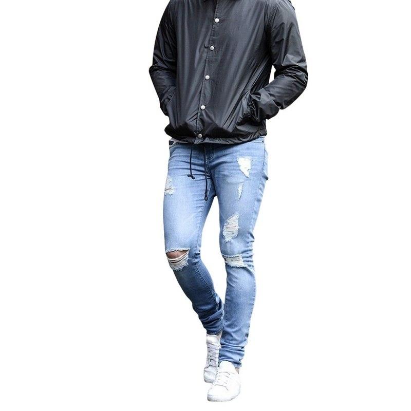 NIBESSER, мужские брендовые обтягивающие джинсы, брюки, повседневные брюки,, джинсовые черные джинсы, homme, Стрейчевые узкие брюки размера плюс, уличная одежда 3XL - Цвет: 2 Light Blue hole2
