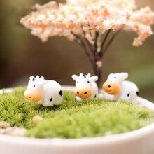 BAIUFOR Lovely Mini Cow Figurines for Terrarium Fairy Garden Miniatures Thumb Animal Cactus Decor Home Decorations Accessories