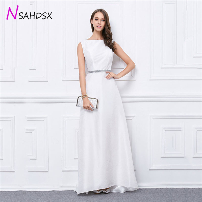 Fashion White Floor-Length Summer Dress Female Plus Size 2018 New Simple Atmospheric Stitching Embroidered Sequins Evening Party