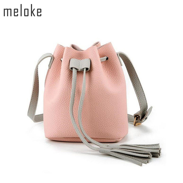 f99040838428 Meloke PU Leather Handbag Organizer Small Cute Bucket Bag Cheap Crossbody  Handbags Women Feminina Bags Bolsos