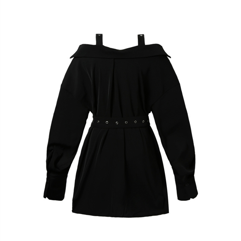 b1a3b20328830 US $22.66 31% OFF|Flectit Harajuku Goth Little Black Dress with Buckle  Straps Belt Cold Shoulder Bardot Shirt Dress Gothic Party Night Dress-in ...
