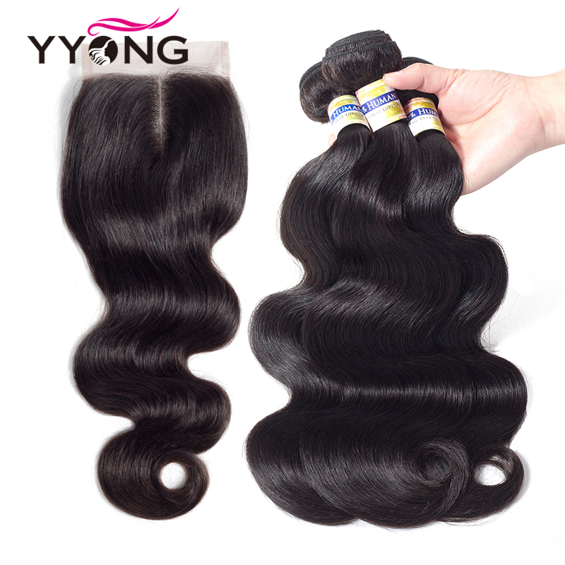 Yyong Hair 3 Bundles With Closure Body Wave Peruvian Hair Bundles With Closure 4X4 Mink Hair Bundles With Closure Free Shipping