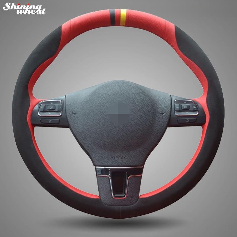 BANNIS Black Suede Red Leather Steering Wheel Cover for Volkswagen VW Gol Tiguan Passat B7 CC Touran Magotan Sagitar