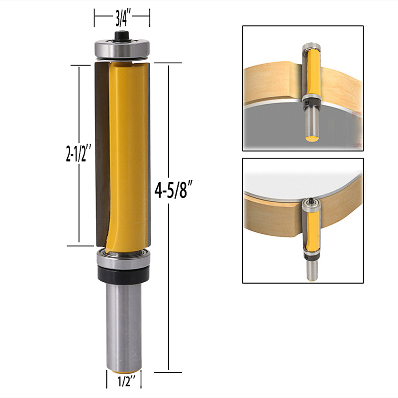 1/2 Shank Pattern/Flush Trim Router Bit 2-1/2 Cutter Top & Bottom Bearing high grade carbide alloy 1 2 shank 2 1 4 dia bottom cleaning router bit woodworking milling cutter for mdf wood 55mm mayitr