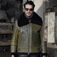 Mens Green Color Aviator B3 Sheepskin Shearling Jacket Motorcycle Jacket Travel Casual Coat winter leather jacket Brown for me