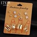 17 KM 8 unids/set Nuevo Color Oro Pendientes De Corazón de Cristal para Mujer Color de la Hoja de Gota de Agua de Plata Anillos de Compromiso Joyería conjunto