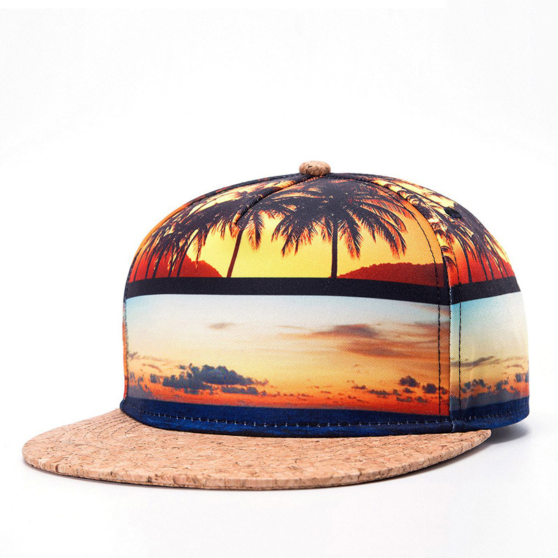 Prix pour Nouveau Snapback Cap Casual Hawaii Style Casquette de baseball Hip Hop RAP Chapeaux Plat 3D Arbres De Noix De Coco Imprimer Gorras