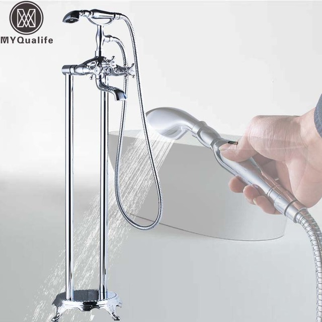 Luxury Chrome Bathtub Mixer Faucet Floor Mounted Bathroom Tub Tap Dual Pipe Clawfoot Hot and Cold Bath Tub Mixers Crane