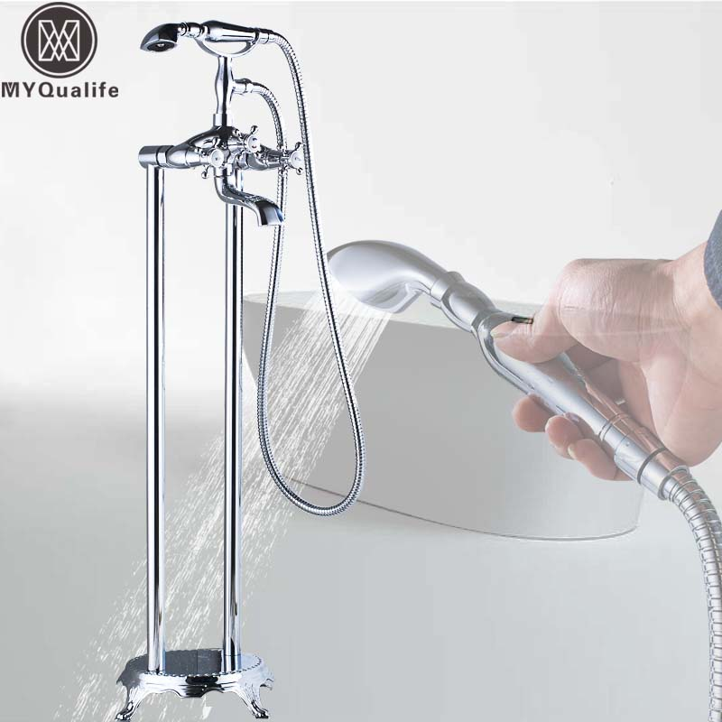 Luxury Chrome Bathtub Mixer Faucet Floor Mounted Bathroom Tub Tap Dual Pipe Clawfoot Hot and Cold Bath Tub Mixers Crane