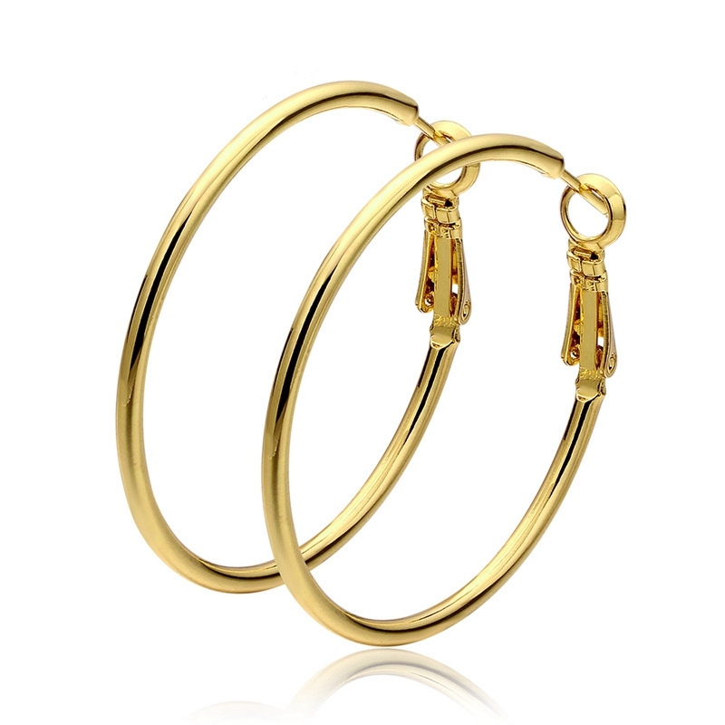 High fashion rose gold plated hoop earrings 40mm