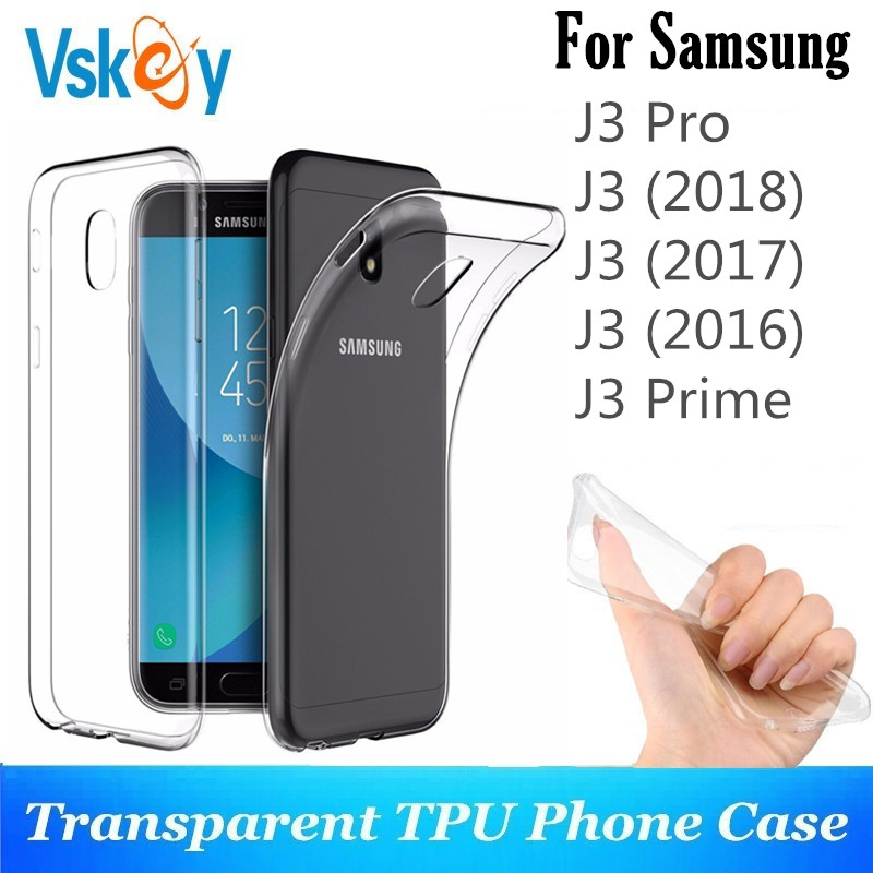 VSKEY 10PCS TPU Phone Case For Samsung Galaxy J3Pro J3 2018 2017 2016 J330 J320 High Bright Clear Ultra Thin Soft Silicone Cover