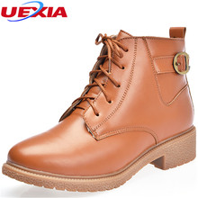 Autumn&Winter Women Boots Leather Ankle Boots For Women Shoes High Top Cowboy Ladies Martin Boots Footwear Zapatos Mujer Botas