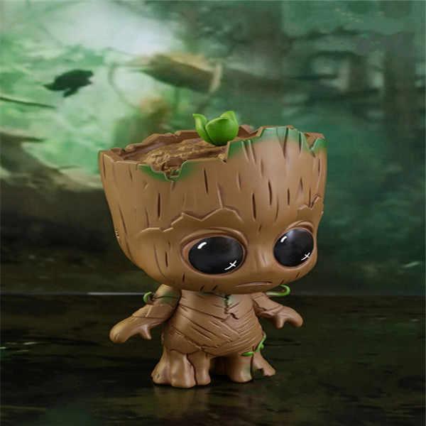 Знак 3 Marvel стражи Галактики крошечные милый ребенок дерево человек виниловые куклы с качающейся головой фигурку игрушки