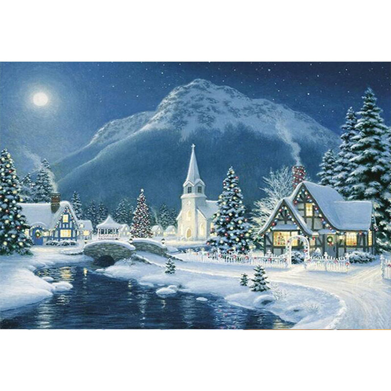 Diamond Painting Cross Stitch Popular Brand Landscape Snow House Christmas Decoration 5d Diy Diamond Painting Square Drill Painting Diamond Embroidery Kits Needlework Gh187 Arts,crafts & Sewing