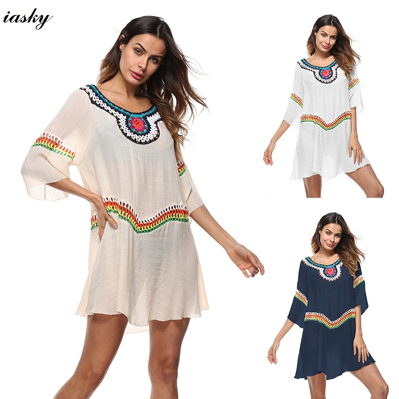 IASKY Bikini Cover Up cotton Crochet Swimsuit Beach Dress Women 2018 Summer Ladies Cover-Ups Bathing Suit Beach Wear Tunic