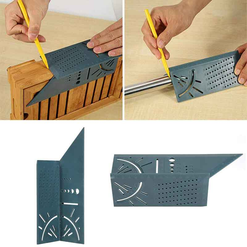 Useful Arrival Woodworking Gauge Ruler 3D Mitre Angle Measuring Square Measure Tool 45 Degree And 90 Degree Angles Measure Ruler