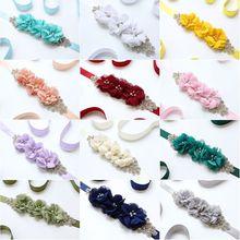 Женские Элегантные Три цветка Sash Стразы бисерный пояс свадебные ленты пояса свадебное платье пояс 12 цветов
