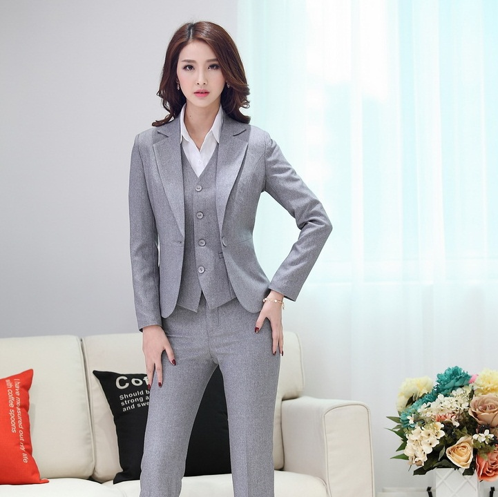 High Quality 2015 Women Suit Set Office Ladies Work Wear Women Pant Suits Formal Female Blaser ...