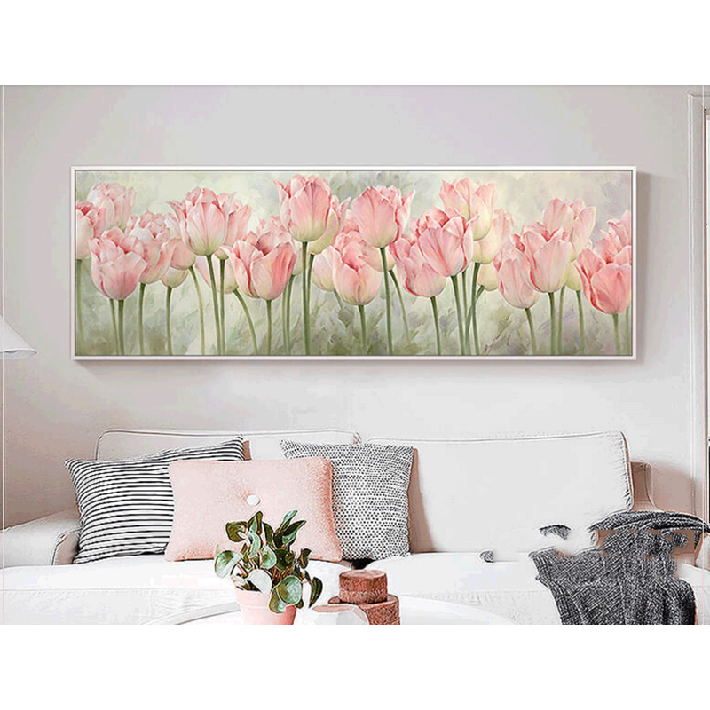 Pink Tulip Simple Flower Arts Needlework 14CT Canvas Unprinted Bedroom Handmade Embroidery DMC Cross Stitch Kits DIY Home Decor