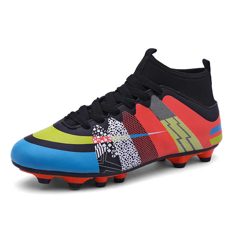 Boy Three-color High-top Long Spike Soccer Shoes Children Adult Outdoor Sports Shoes Anti-skid Lines zapatillas de futbol