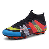 Boy Three color High top Long Spike Soccer Shoes Children Adult Outdoor Sports Shoes Anti skid Lines zapatillas de futbol Soccer Shoes     -