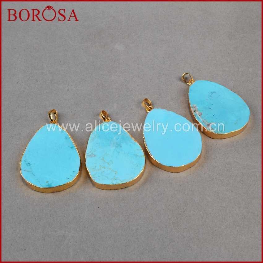 BOROSA Gold Color Drop Blue Howlites Stone Pendant Bead Druzy Jewelry Howlite Stone Pendant for Necklace Making G0205