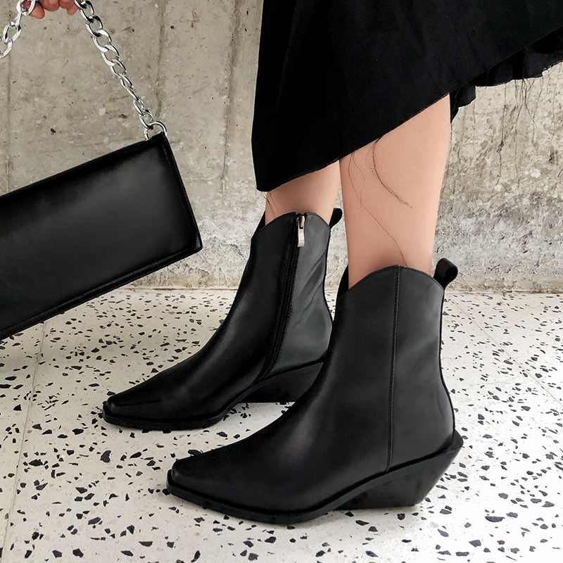 krazing pot recommend genuine leather square high heel pointed toe zipper charming model runway vintage Chelsea ankle boots l63 - 2