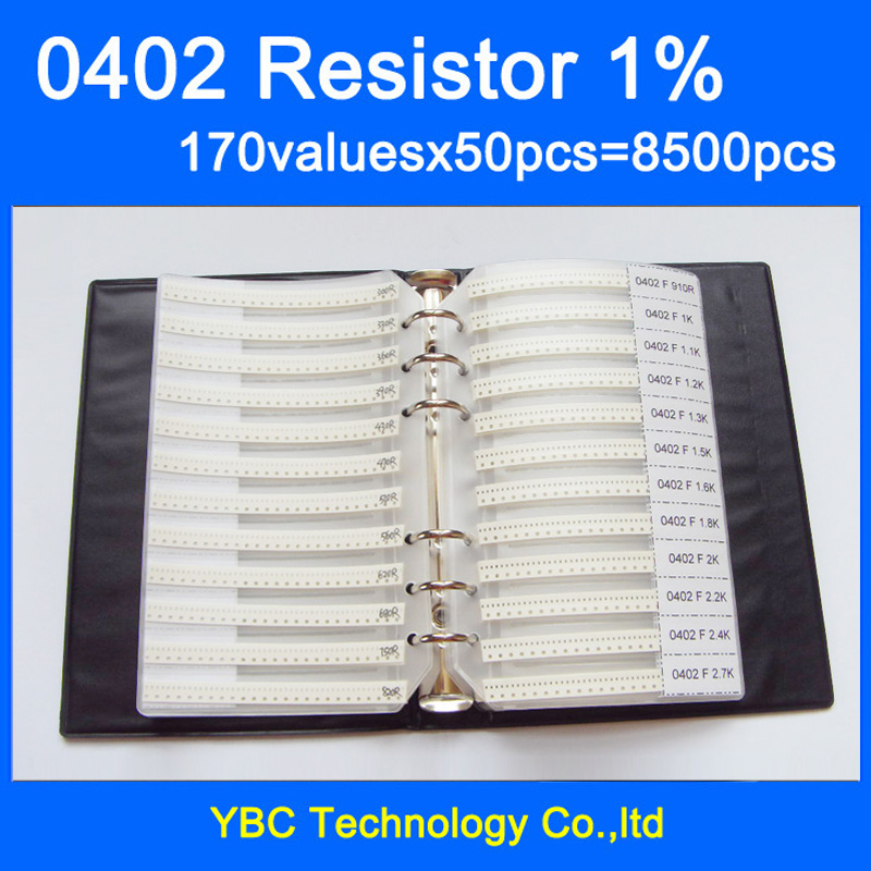 0402 SMD резистор книга образца 1% Допуск 170valuesx50pcs = 8500 шт. Резистор Комплект 0R ~ 10 м