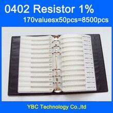 Образец резистора 0402 SMD, книга с 1% толерантность 170 valuesx50 шт. = 8500 шт. комплект резисторов 0R ~ 10 м