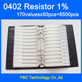 0402 YAGEO SMD Livro Da Amostra Resistor 1% Tolerância 170valuesx50pcs = 8500 pcs Resistor Kit 0R ~ 10 M