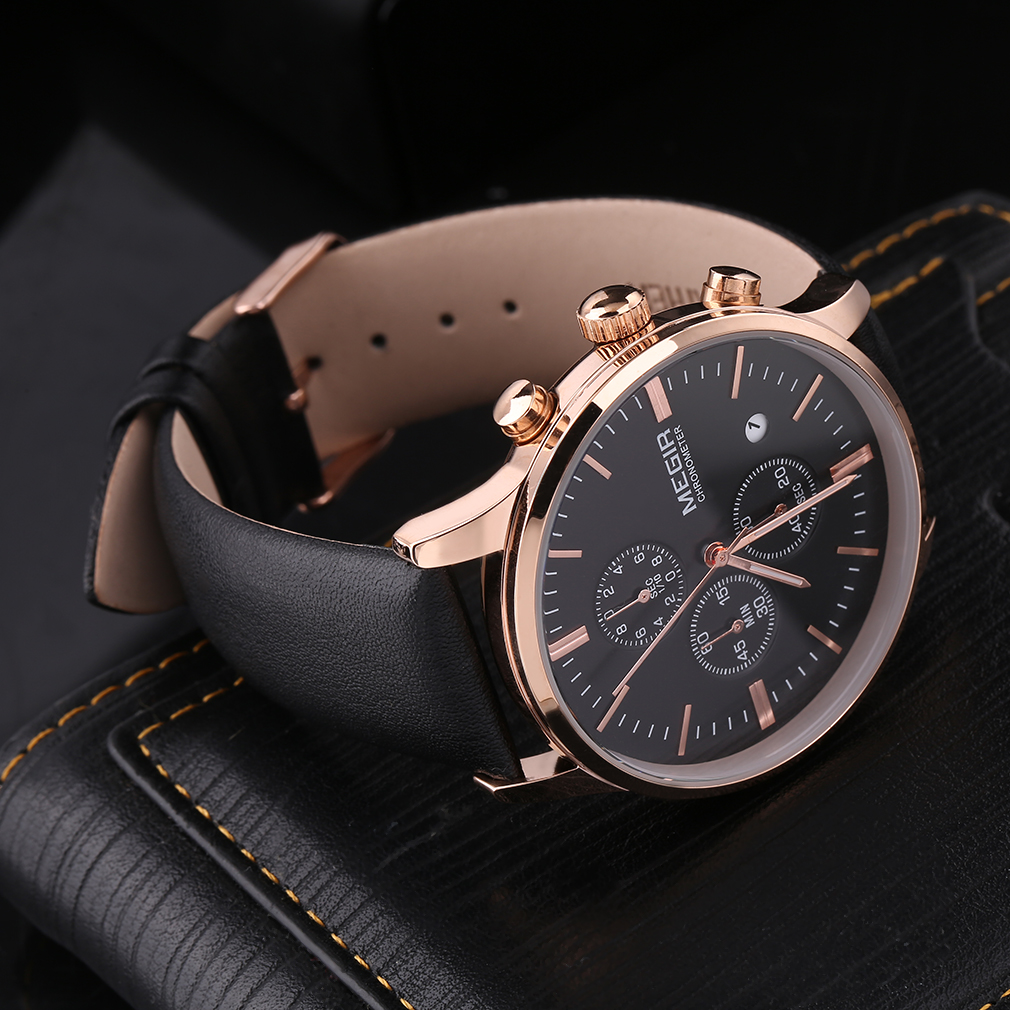 MEGIR ML2011 Luxury Men's Leather Band Watch Quartz Analog Date Wristwatch New Hot Selling