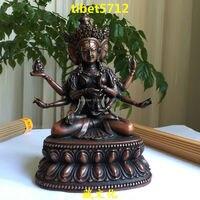Tibetan antique Buddhist bronze Ushnishavijaya buddha statue 18 cm Bronze Finish Buddha Healing Statue