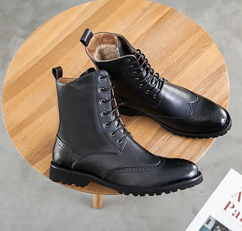Brand Män Stövlar Mode Hot Bullock Skor Handgjorda Vackra Läder Vinterstövlar Män Casual British Style Ankel Snow Boots