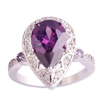 lingmei Wholesale Amethyst & White Topaz 925 Silver Ring Size  6 7 8 9 10 11 New Fashion Women Engagement Wedding Party Jewelry