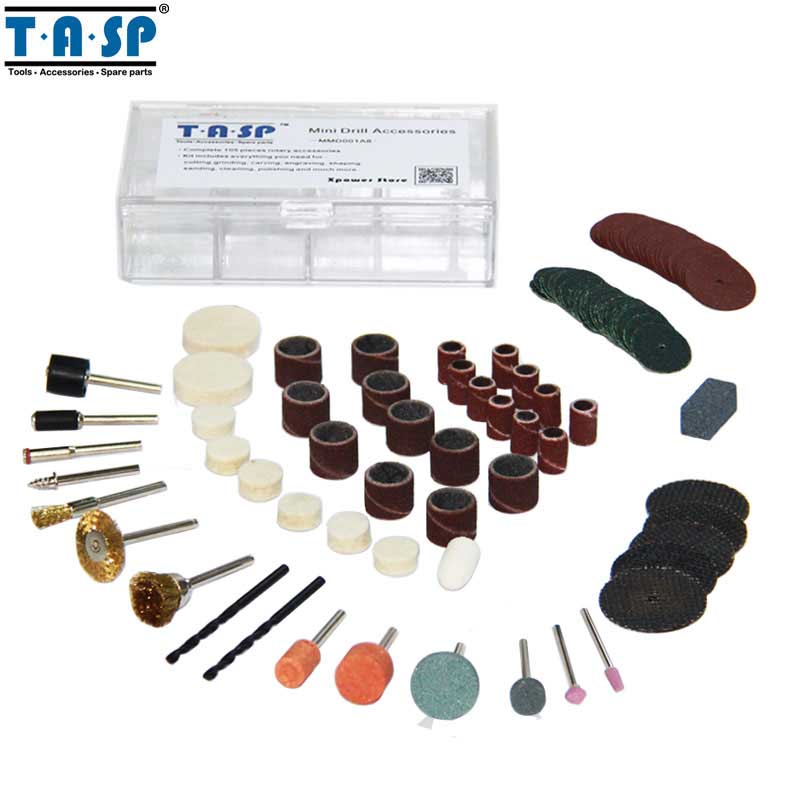 TASP 105pcs Rotary Tool Accessories Mini Drill Accessory Set Abrasive Bit Set For Grinding Sanding Polishing Cutting Drilling