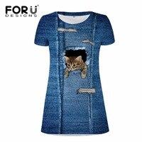 Forudesigns/бренд Для женщин Летнее Повседневное платье деним 3D кошка животное Для женщин S Vestidos Сексуальная Макси платья с короткими рукавами пл...