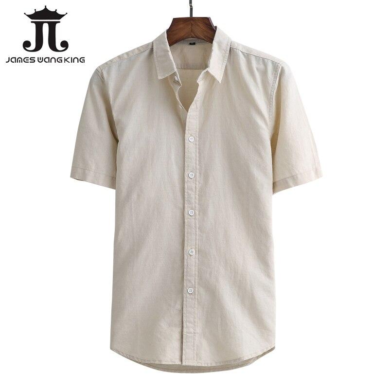 65de112cec8 Tamaño 4xl Manga white Camisas Asiático Blue Delgada De 2018 Más Algodón  Corta Los Marca khaki M gris Sólido Verano Xxxl Lino Hombres ...