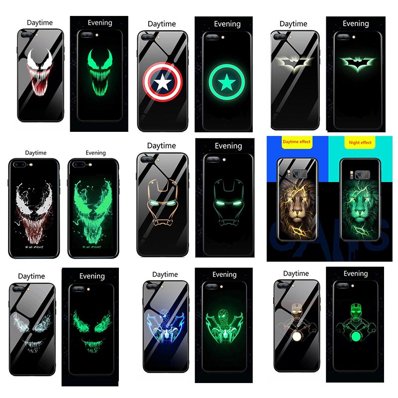 Marvel Venom Luminous Glass Case For Samsung Galaxy S8 S9 S10 plus Lion phone back Cover