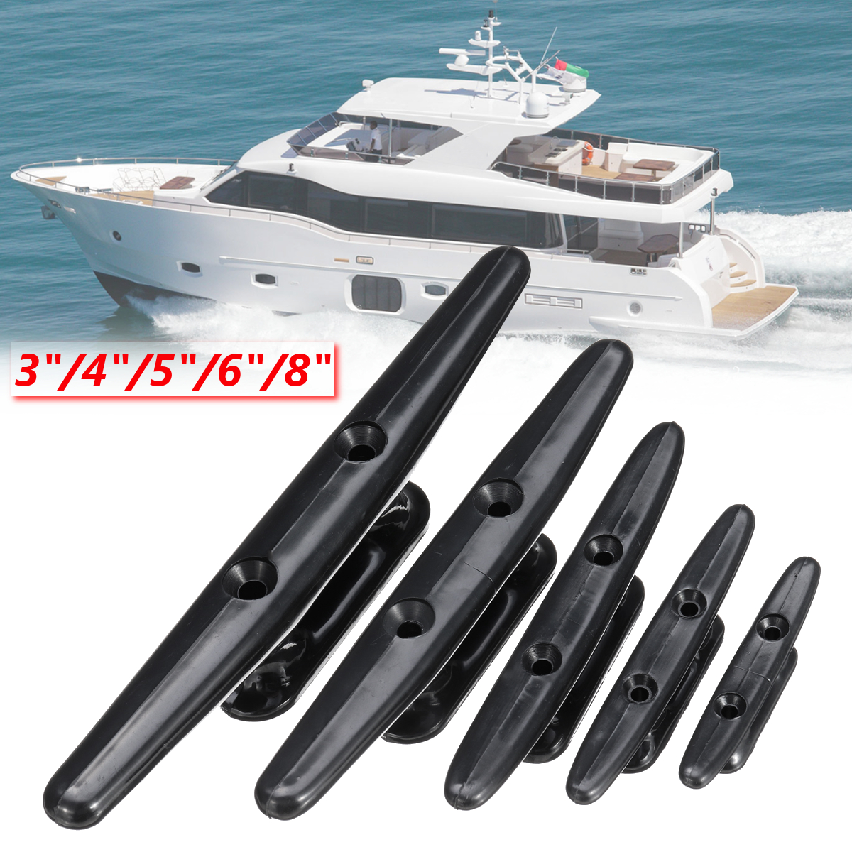 """Low Flat Cleat Hardware Nylon Plastic For Marine Boat Yacht Deck Line Rope Tie 3"""" 4"""" 5"""" 6"""" 8"""" Boat Accessories"""