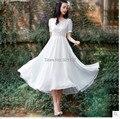 Vestido del v-cuello corto, mujeres flores manga de soplo de la alta cintura delgada mujeres largo ocasional elegante vestido