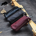 ZYD-COOL High Quality Women and Men's Genuine cow Leather Key Holder Zipped Key Pouch Keychain Auto Car Key Case Bag