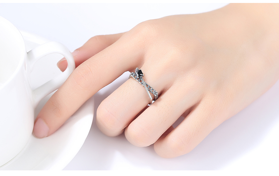 LUOTEEMI 925 Sterling Silver Women's Rings Geometry Trendy Simple Style Classic Black Zirconia Stone Rings Silver Fine Jewelry