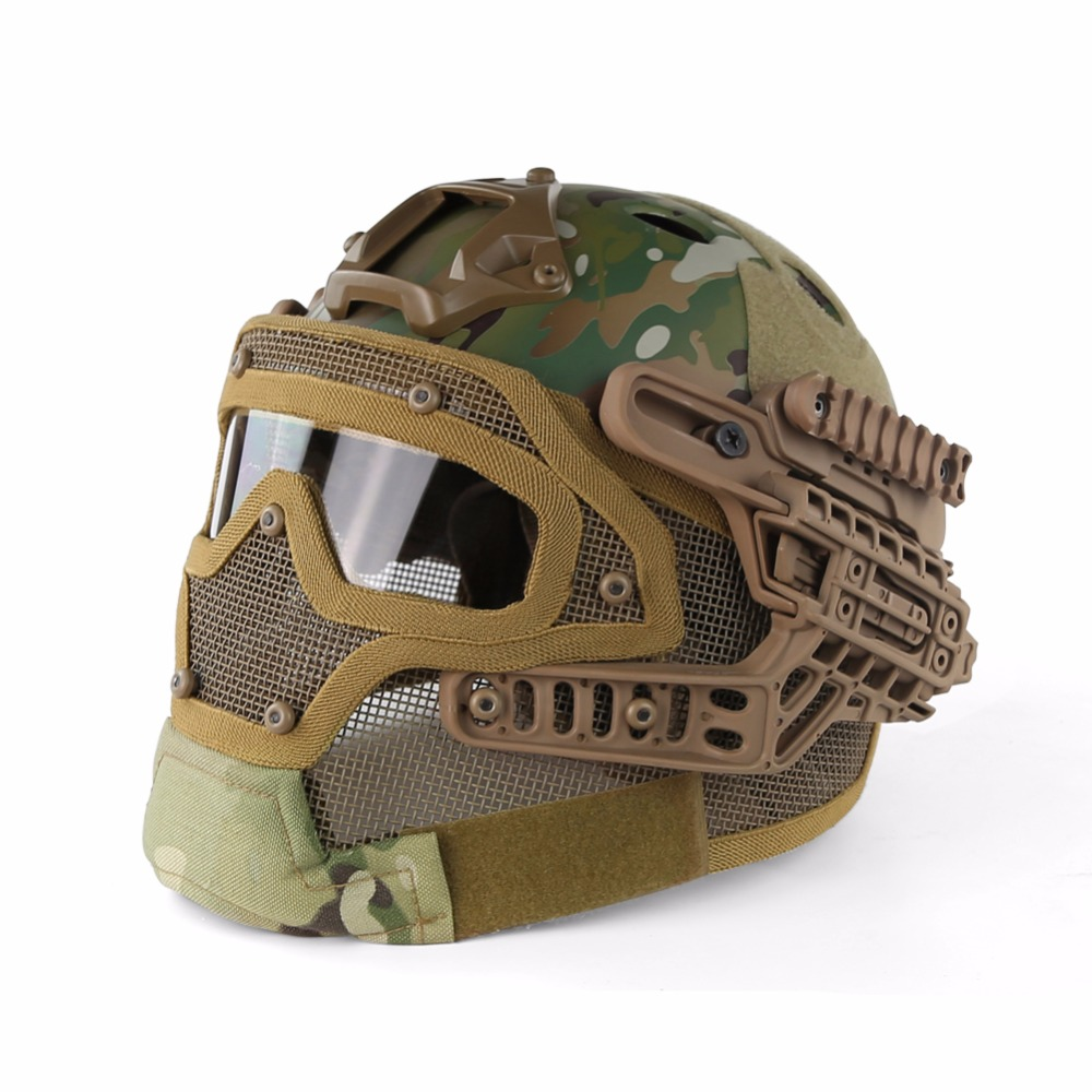 Multicam Tactical Helmet BJ MH PJ ABS Mask with Goggle for Military Airsoft Paintball Army WarGame Motorcycle Cycling Hunting new fashion multicolor crystal exaggerated flower shape necklace and earrings sets for women party bridal wedding jewelry sets