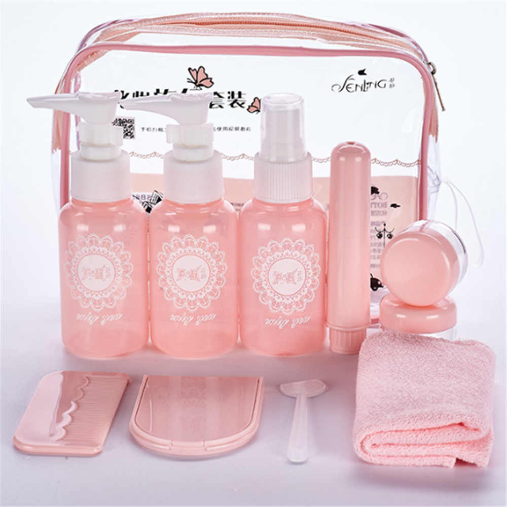 10 pc/Set Travel Mini Makeup Cosmetic Face Cream Bottles Plastic Transparent Empty Make Up Container Travel Accessories
