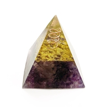 Natural Amethyst Stone Beads Purple Quartz Crystal Chips Orgonite Pyramid Energy Healing Resin Figurine Office Home Decoration tumbeelluwa natural deep purple amethyst sphere gem stone ball crystal quartz sculpture figurine with wooden stand 2 3 2 5
