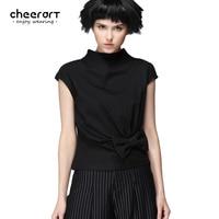 Cheerart Original Summer Black Sleeveless Women T Shirt Bow Fitness Open Back Fashion Top 2017