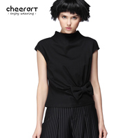 [cheerart] Original Summer Black Sleeveless Women T Shirt Bow Fitness Open Back Fashion Top 2017