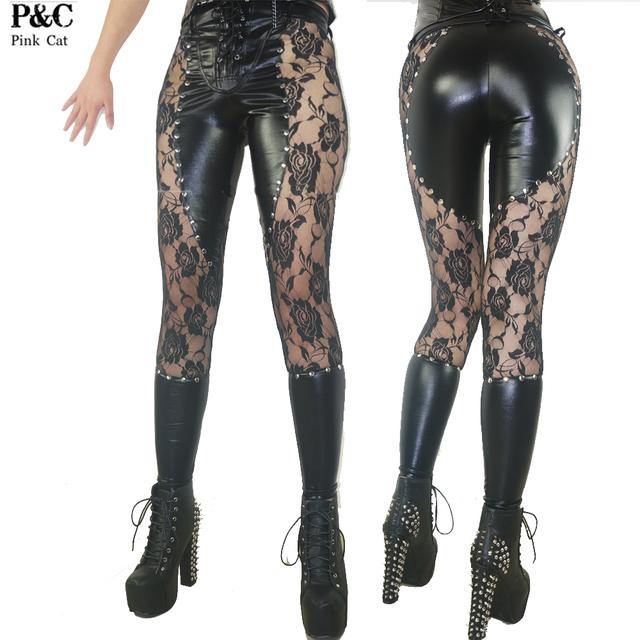 2017 New Gothic Steampunk Pantalones Ropa Mujeres Atado Para Arriba Gótico Punk Rock Leggings Ropa Heavy Metal Tachonado de Cuero de Imitación Pantalón