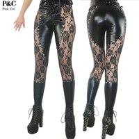 2017 New Gothic Steampunk Pantaloni Abbigliamento Donna Allacciate Gothic Punk Rock Leggings di Metalli pesanti Abbigliamento Studded Faux Leather Pant