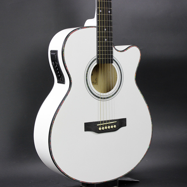 40 inch ballad guitar electric box with midrange eq basswood white acoustic guitar